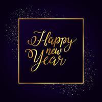 feliz año nuevo cartel dorado celebración vector