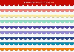 Set of colorful seamless scallops stripes vector