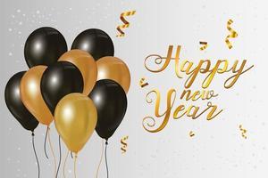 cartel de celebración de feliz año nuevo con globos vector