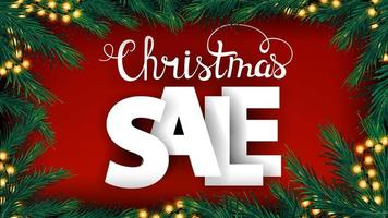 Christmas red discount banner with large volumetric letters