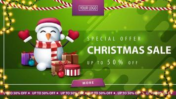 Christmas green horizontal discount banner with button vector