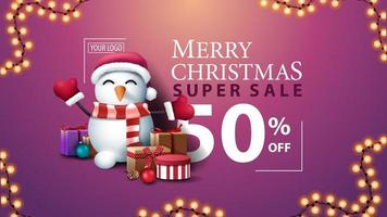 Christmas pink modern discount banner with beautiful typography