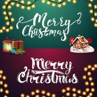 Merry Christmas, set of handwritten letterings vector
