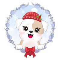 Little bulldog with Christmas wreath vector