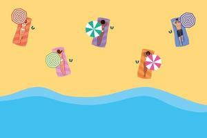 mujeres que practican el distanciamiento social en la playa vector