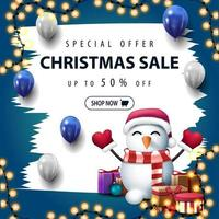 Christmas white and blue discount banner with brush strokes
