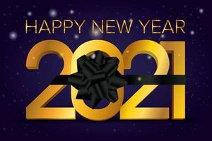 Happy New Year, 2021 celebration card with black ribbon vector
