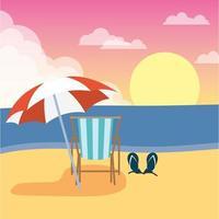 escena de verano en la playa con silla y sombrilla vector