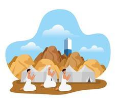 escena de celebración de peregrinación hajj vector