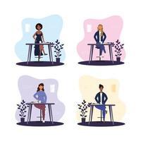 mujeres comiendo en un restaurante solas vector
