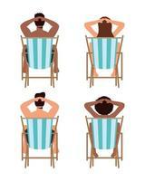gente tomando el sol en sillas conjunto de iconos vector