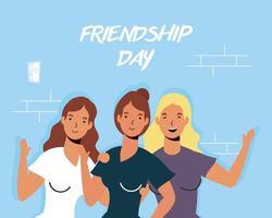 feliz, mujeres jóvenes, abrazar, para, amistad, día, celebración vector