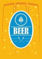 cartel de celebración del día de la cerveza con sello de sello vector