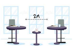 Mesas de restaurante con antecedentes sociales a la distancia adecuada.