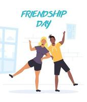 jóvenes felices para la celebración del día de la amistad vector