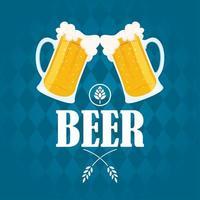 Composición de celebración del día de la cerveza con tazas animando