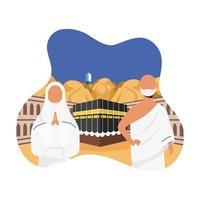 celebración de peregrinación hajj con pareja en una escena de kaaba vector