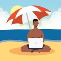 hombre usando laptop en la playa, escena de verano vector