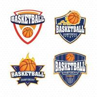 Basketball championship sports emblem set vector