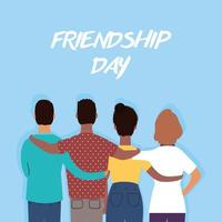 Happy young people hugging for Friendship Day celebration