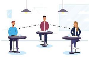 gente comiendo en un restaurante con distancia social vector
