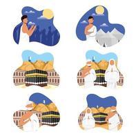 Hajj pilgrimage celebration icon set vector