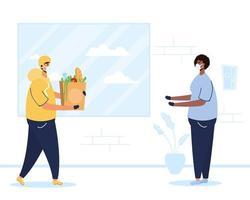 Banner de entrega segura de alimentos con trabajador y cliente. vector