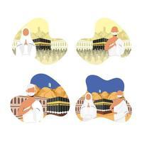 conjunto de iconos de celebración de peregrinación hajj vector