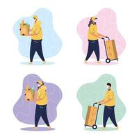 Set of delivery service courier workers vector
