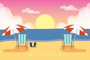 escena de verano en la playa con distancia social. vector