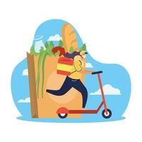 Safe food delivery concept with courier worker