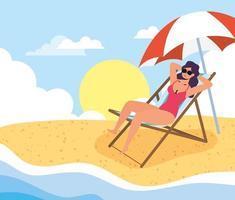 mujer tomando el sol en la playa, escena de verano vector