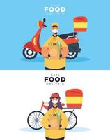 Safe food delivery banner set with worker and groceries vector
