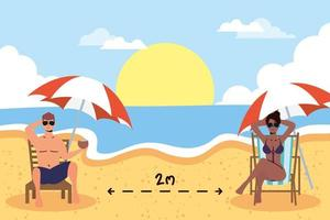 People sunbathing with social distance at the beach