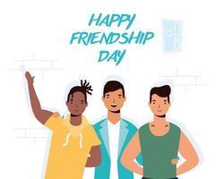 hombres jóvenes felices abrazándose para la celebración del día de la amistad vector
