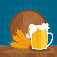 Beer Day celebration composition with barrel and mug vector