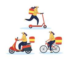 Set of food delivery courier workers