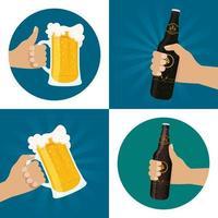 conjunto de composición de celebración del día de la cerveza vector