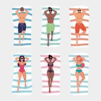 Set of people sunbathing top view icons vector