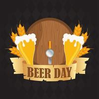 Beer Day celebration composition with barrel and cups vector
