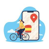 Safe online delivery concept with courier worker vector