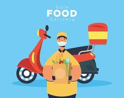 Safe food delivery banner with worker and groceries