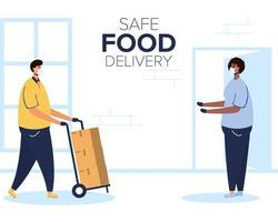 Safe food delivery banner with worker and client