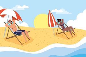 People sunbathing at the beach, summer scene