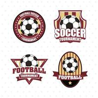 Football soccer sports emblem icon set