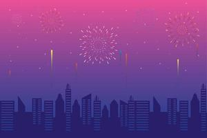 Fireworks burst explosions with a cityscape in the afternoon vector