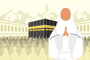 celebración de peregrinación hajj con mujer en una escena de kaaba vector