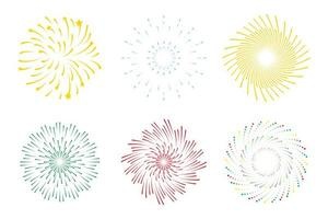 Explosiones de explosión de fuegos artificiales sobre un fondo blanco. vector
