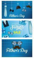 banner de venta del día del padre con iconos masculinos antiguos vector