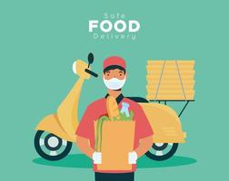 Safe food delivery banner with worker and groceries vector